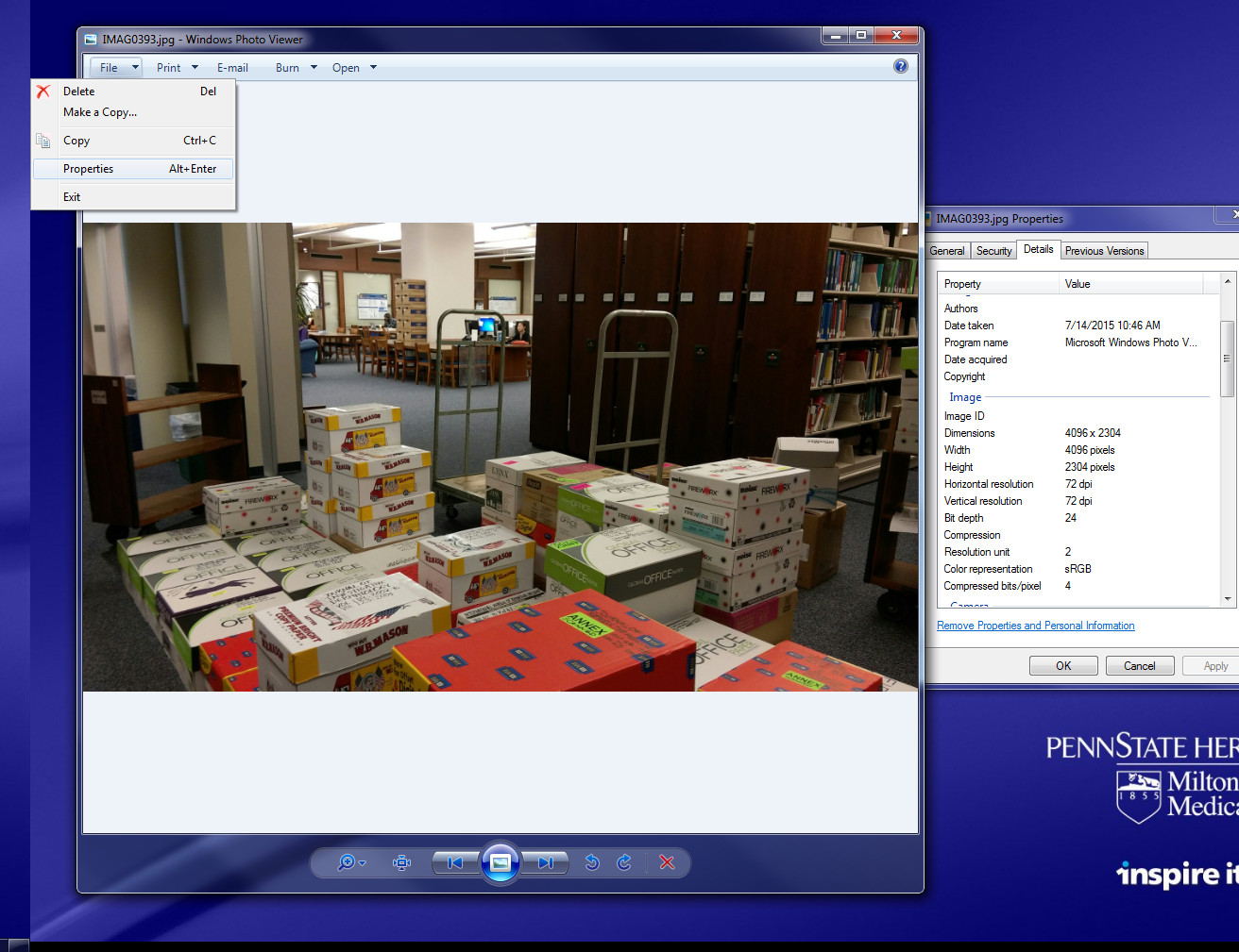 Finding the size and resolution of your picture in Windows Photo Viewer
